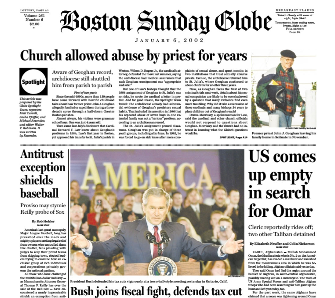 Media coverage of church sex scandal