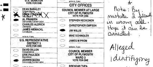 A challenged ballot in the Minnesota U.S. Senate race