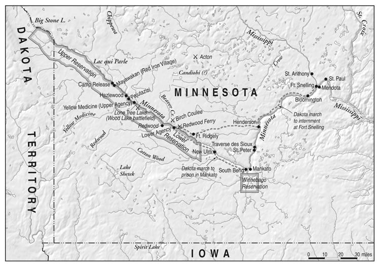 This Map Shows The Region In Minnesota Where The U S Dakota War Was Fought